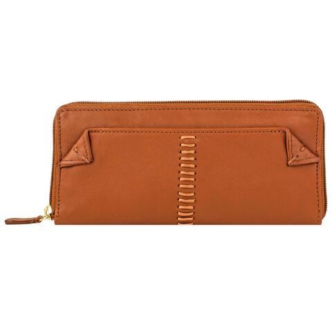 Hidesign Stitch Zip Around Leather Wallet