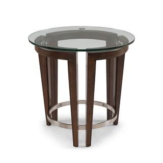 Carmen Contemporary Hazelnut Round Glass Top End Table