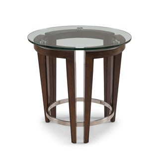 Carmen Contemporary Hazelnut Round Glass Top End Table