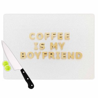Kess InHouse Kristi Jackson 'Coffee is My Boyfriend' Typography Beige Tempered Glass Cutting Board