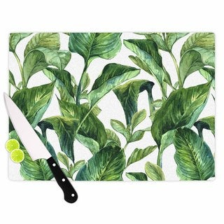 KESS InHouse Kess Original 'Banana Leaves' Green White Cutting Board