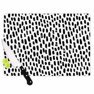 KESS InHouse Kess Original 'Ink Dots' Black White Cutting Board