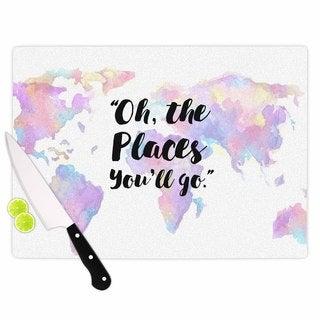 KESS InHouse Kess Original 'The Places You'll Go' Purple Yellow Cutting Board