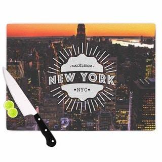 KESS InHouse Kess Original 'New York' Orange Black Cutting Board