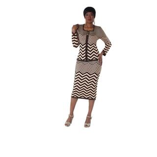 Kayla Collection Women's Knit 2-tone Zebra Print Suit