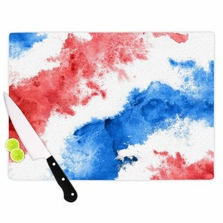 KESS InHouse Kess Original 'Patriotic Watercolor' Red White Cutting Board