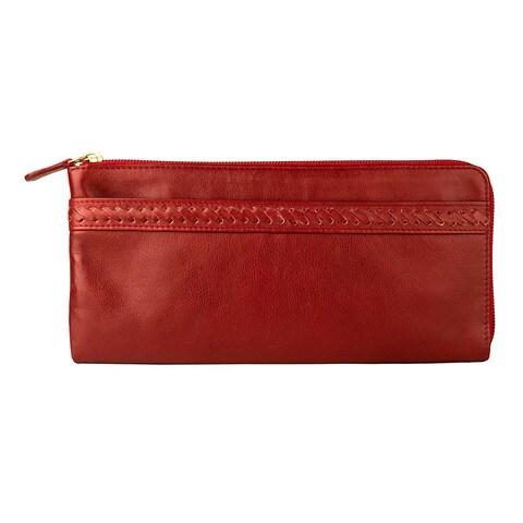 Hidesign Mina Red Leather Oversized Zip Around Wallet