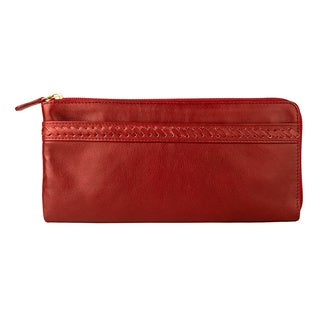 Hidesign Mina Red Leather Oversized Zip Around Wallet