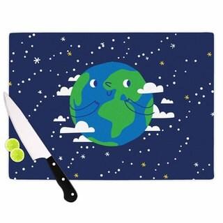 KESS InHouse Kess Original 'Happy Earth' Blue Green Cutting Board