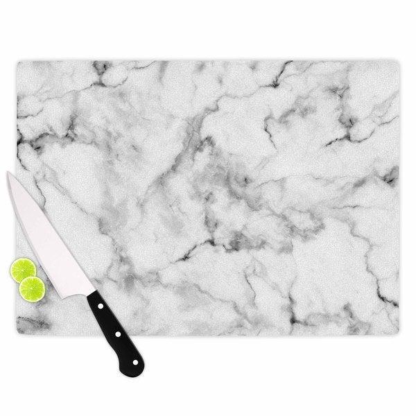 KESS InHouse Kess Original White Marble Gray White Cutting Board