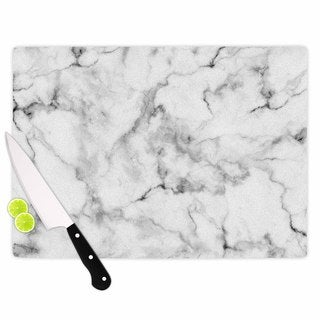 KESS InHouse Kess Original White Marble Gray White Cutting Board