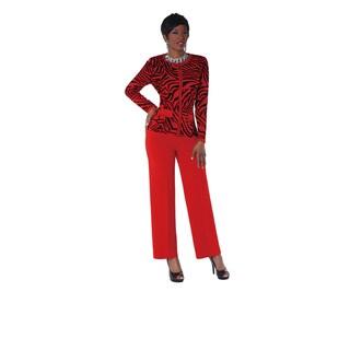 Kayla Collection Women's Rhinestone and Zebra Print Knit Suit