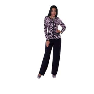 Kayla Collection Women's Rhinestone and Zebra Print Knit Suit https://ak1.ostkcdn.com/images/products/13112154/P19843544.jpg?impolicy=medium