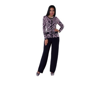 Kayla Collection Women's Rhinestone and Zebra Print Knit Suit