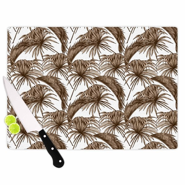 Kess InHouse Kess Original 'Palmtastic Tan' Brown Abstract Tempered Glass Cutting Board