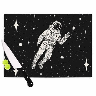 KESS InHouse Kess Original 'Space Adventurer' Black Fantasy Cutting Board