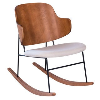 Penguin Mid-Century Modern Wood and Cream Upholstered Rocking Chair