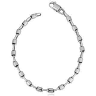 Fremada Unisex 14k White Gold Bullet Link Chain Bracelet (8.25 inches)