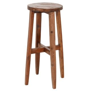 Handmade Reclaimed Boat Wood Bar Stool (Indonesia)