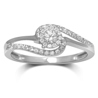 Unending Love Women's 10k White Gold 1/4-carat Total Weight I-J I2-I3 Diamond Fashion Ring