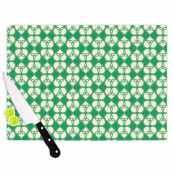 "KESS InHouse KESS Original ""Celtic"" Green Pattern Cutting Board"
