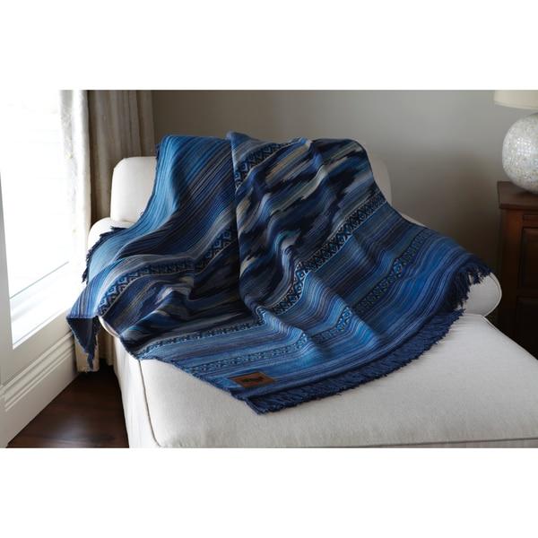 "Deluxe Comfort Biederlack Collection Native Southwest Throw Blanket, 60"" x 50"" - Throw Blanket, Blue"