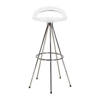 Silicon Valley Clear Polypropylene/ Chrome 30-inch Bar Stool