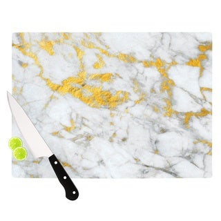 "KESS InHouse KESS Original ""Gold Flake"" Marble Metal Cutting Board"