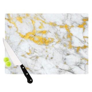 "KESS InHouse KESS Original ""Gold Flake"" Marble Metal Cutting Board"
