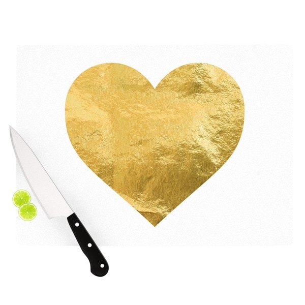 "KESS InHouse KESS Original ""Heart of Gold"" Metallic Cutting Board"