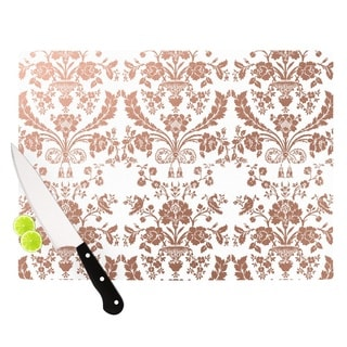 """KESS InHouse KESS Original """"Baroque Rose Gold"""" Abstract Floral Cutting Board"""
