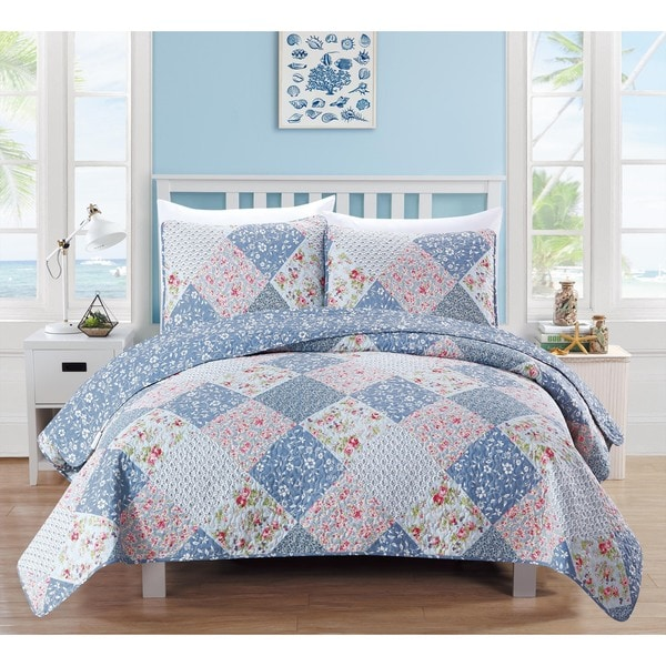Home Fashion Designs Marbella Collection 3-Piece Printed Quilt Set