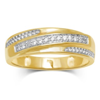 Unending Love 10k Yellow Gold 1/8-carat TW Diamond Matching Gents Band of Trio Set