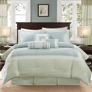Madison Park Abigail Aqua/Green Solid Pieced 7 Piece Comforter Set