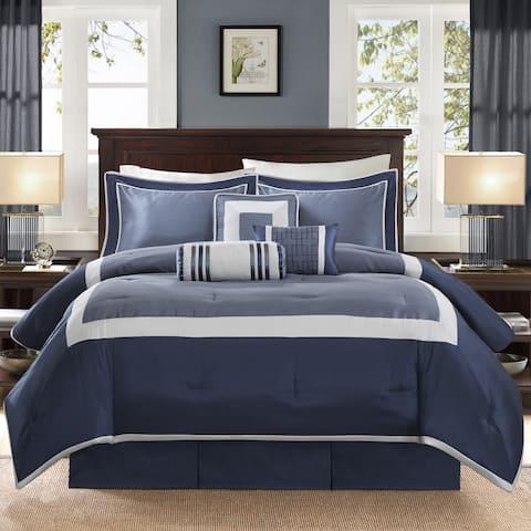 Madison Park Abigail Navy Solid Pieced 7 Piece Comforter Set