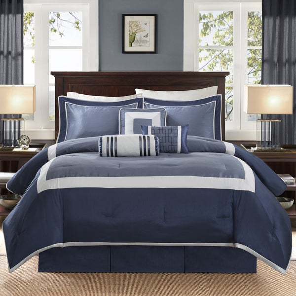 Madison Park Abigail Navy Solid Pieced 7 Piece Comforter Set