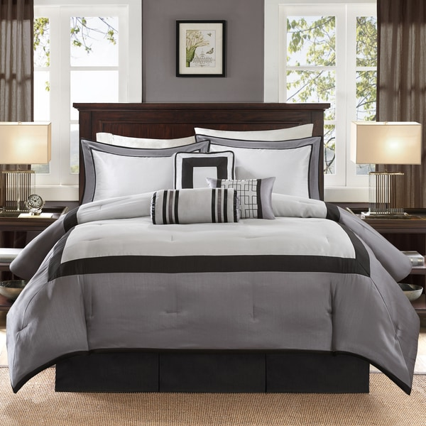 Madison Park Abigail Black Solid Pieced 7 Piece Comforter Set