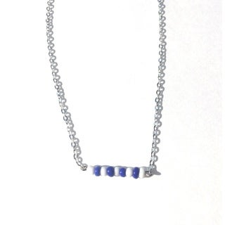 Blue and White Beaded Game Day Necklace