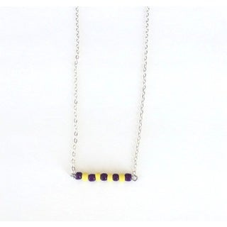 Purple and Yellow Beaded Game Day Necklace
