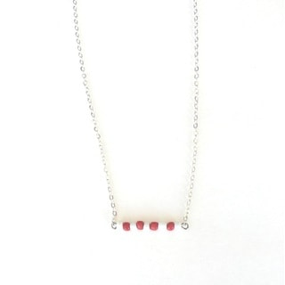 Red and White Beaded Game Day Necklace