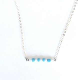Light Blue and White Beaded Game Day Necklace