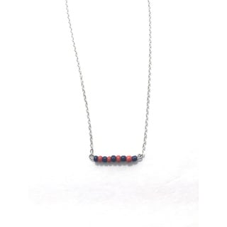 Navy and Red Beaded Game Day Necklace