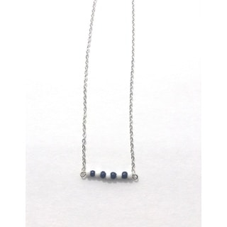 Navy and White Beaded Game Day Necklace