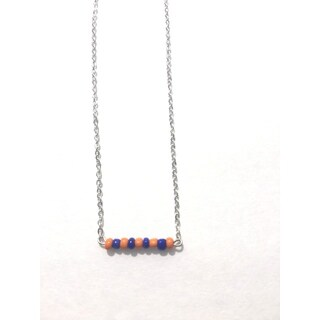 Orange and Blue Beaded Game Day Necklace