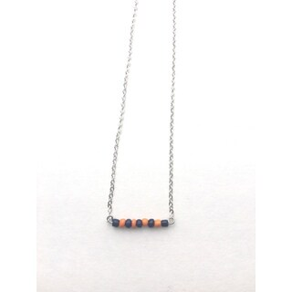 Orange and Navy Beaded Game Day Necklace