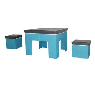 3-Piece Children's Grey/ Blue Play Table and Stools
