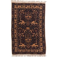 eCarpetGallery Finest Mouri Blue/Brown Hand-knotted Wool Rug (3' x 4'8)
