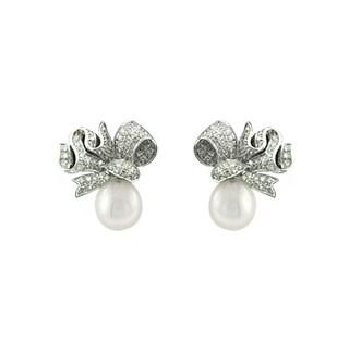14k White Gold Pearl and 1/5ct TDW Diamond Earrings (I-J, SI1-SI2)