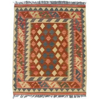 eCarpetGallery Kashkoli Kilim Orange/Yellow Hand-woven Wool Rug (2'11 x 3'7)