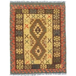 eCarpetGallery Kashkoli Kilim Brown/Yellow Wool Handwoven Rug (2'10 x 3'8)